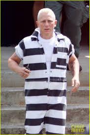 Prison Jumpsuit Daniel Craig Goes Blond In Striped Jumpsuit For U0027logan Lucky