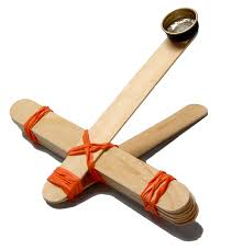 popsicle stick crafts including a catapult reindeer ornament