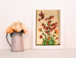 Home Decoration Flowers Flower Quilling Paper Frame Paper Quilled Art Floral Framed Art