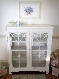 Vintage Bookcase With Glass Doors Beautiful White Antique Bookcase With Glass Doors And Fretwork