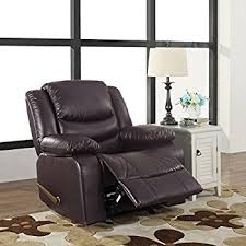 Chair And A Half Recliner Leather Amazon Com Bonded Leather Overstuffed Recliner Chair Colors Brown