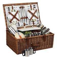 at ascot dorset english style willow picnic basket with service