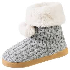 womens knit boots isotoner s cable sweater knit sherpa boot slippers