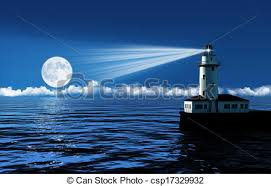 light house at night 3d render of a lighthouse at night on a calm sea with clouds