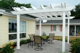 buy best white vinyl pergola with aluminum inserts one piece rafters