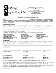 Credit Release Form Rental Application Forms