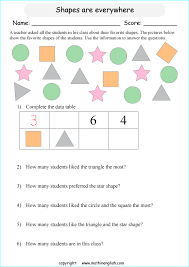 count the shapes complete the data table and answer the questions