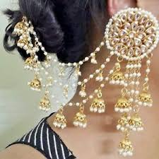 jhumka earrings with chain women gold plated indian vintage bridal fashion jhumka