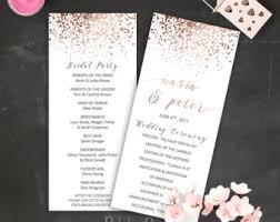 gold wedding programs blush pink and gold wedding program printable printable