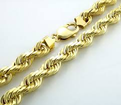 gold solid necklace images Real 14k yellow gold solid mens 10mm italian diamond cut rope jpg