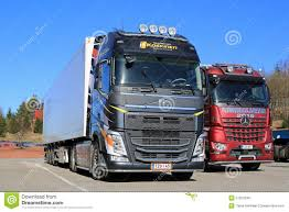 new volvo fh 500 semi and mercedes benz arocs logging trucks