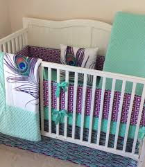 Purple And Teal Bedding Baby Crib Bedding Set Peacock Mint Teal Purple