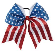 Blue White And Red Flags 7 U0027 U0027 New Design American Flag Glitter Cheer Bow Red White Striped