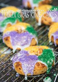 king cake for mardi gras mini cinnamon roll mardi gras king cakes bake give