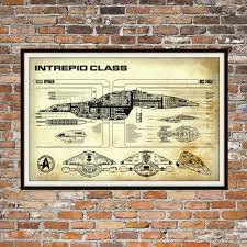 What Size Paper Are Blueprints Printed On Star Trek Voyager Blueprint Art Of Intrepid Uss Voyager Class