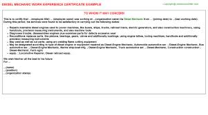 diesel mechanic work experience letters