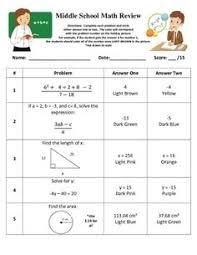 pre algebra review worksheet homeschooling pinterest algebra