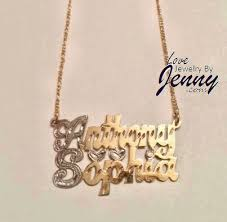 Personalized Name Plate Necklaces 14k Gold Overlay Xo Necklace With 3 D Name Plate Custom Gold