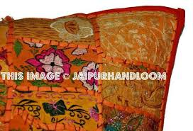 24x24 orange patchwork pillow cover indian style outdoor cushions