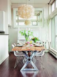 small shabby chic dining room with rustic driftwood chandelier