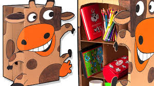 cardboard shelf cow crafts with boxes diy room organization