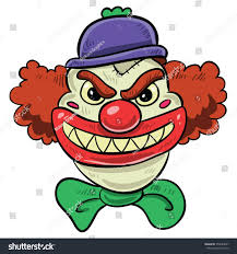 scary halloween cartoons scary clown big smile red hair stock vector 354083867 shutterstock