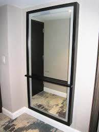 wood framed bathroom backlit mirror with concealed led light view