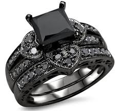 black diamond wedding set 2 27ct black princess cut diamond heart engagement ring wedding