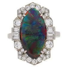 black opal engagement rings superb deco black opal ring circa 1935 for sale at
