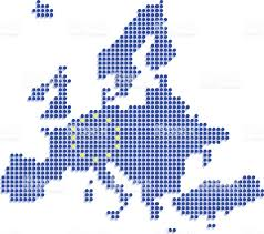 Europe Flag Map by Europe Dot Map With Eu Flag On White Background Stock Vector Art
