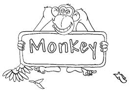 monkey sign board coloring page monkey sign board coloring page