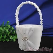 corbeille mariage blanc satin organza corbeille panier à fleurs pétales mariage deux