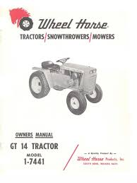 wheelhorse gt14 owners manual 1 7441 clutch tractor