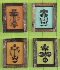 make a tiki mask set with vintage kitchen cabinet knobs and pulls