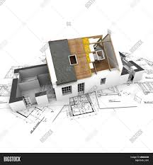 architect plan house exposed roof layers on top image photo bigstock