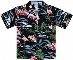 pink flamingo boys hawaiian aloha shirt in black boys