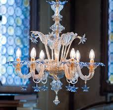 Gold Glass Chandelier Blue And Gold Classic Murano Glass Chandelier Da Ponte Glass