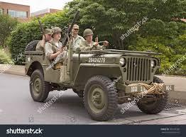 jeep christmas parade reenactment world war ii jeep infantrymen stock photo 106137392