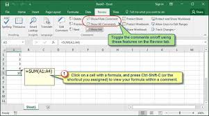 displaying excel formulas within worksheet cell comments