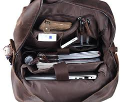 mens travel bag images Polare mens handcrafted real leather vintage laptop backpack jpg