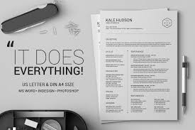 Best Resume Set Up by Clean Resume Cv Hudson Resume Templates Creative Market