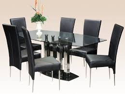 Leather Chairs For Dining Room by Furniture Country Style Round Glass Dining Table And 4 Chocolate