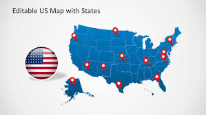 Map Of United States Of America by Us Map Template For Powerpoint With Editable States Slidemodel