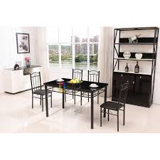 glass metal dining table modern black metal dining table set glass top 4 faux leather chairs