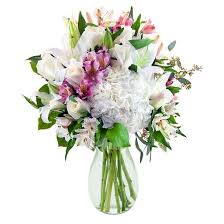 White Roses In A Vase Kabloom White Pearls With Lilies And Roses Fresh Flower