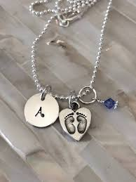 footprint necklace personalized baby footprint initial necklace new necklace push present