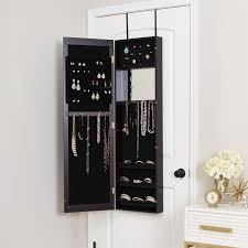 Anti Tarnish Jewelry Armoire Mercury Row Modern Over The Door Jewelry Armoire With Mirror