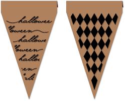Flag Triangle Needles U0027n U0027 Knowledge Four Halloween Triangle Flag Stenciled Pennants
