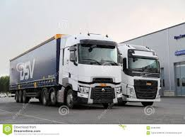 volvo truck center renault trucks t and volvo fh semi on demo drive event editorial