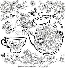 vector coffee herbal tea cup abstract stock vector 427220923